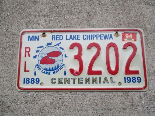 Minnesota 1989 / 94 Centennial Red Lake Chippewa  license plate #    3202