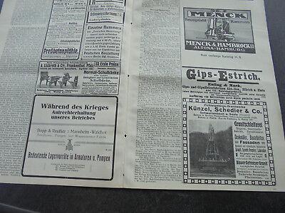 1914 Bauzeitung Beilage 42 / Künzel und Schedler aus Schwarzenbach Saale Reklame