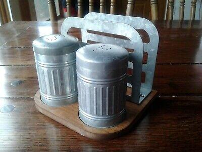 Vintage Salt & Pepper Shakers With Napkin Holder Galvanized Steel (Salt And Pepper Shaker Napkin Holder Set)