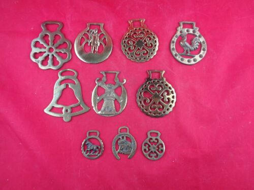 Vintage Horse Saddle Harness Brass Decorations Brass Medallions - Lot of 10