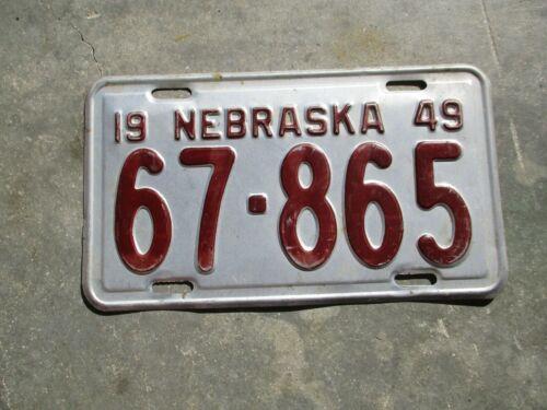 Nebraska 1949 license plate #  67 - 865