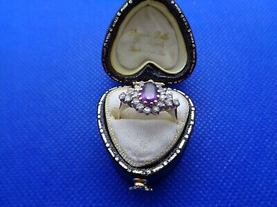 VINTAGE FULLY HALLMARKED 9CT GOLD AMETHYST & DIAMOND PASTE RING
