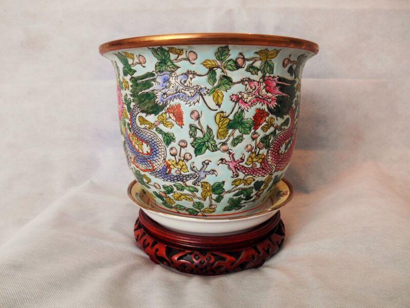 Antique Chinese Tongzhi (1862-1874) Pottery Bowl Planters Porcelain Pots