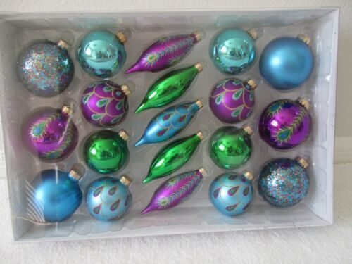 CELEBRATE IT 19 PIECES PEACOCK DESIGN ASSORTED GLASS ORNAMENTS - NEW