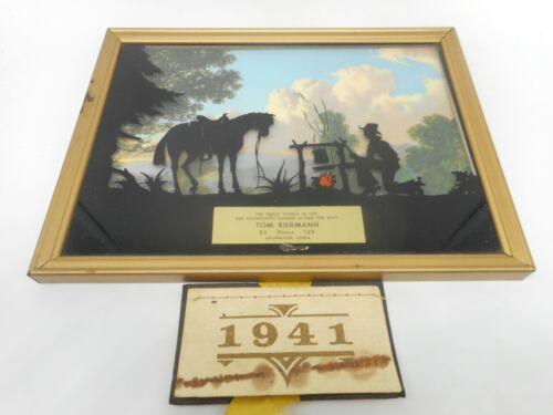 Vintage 1941 TOM BIERMANN Aplington IA Advertising SILHOUETTE COWBOY CAMP HORSE