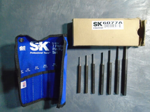 SK HAND TOOLS 6077A - 7 PC PIN PUNCH SET W/ POUCH - MADE IN USA