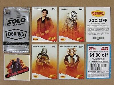 Star Wars: Solo DENNY'S TRADING CARDS - 4 Cards + 2 Coupons + 1 Wrapper + Bonus