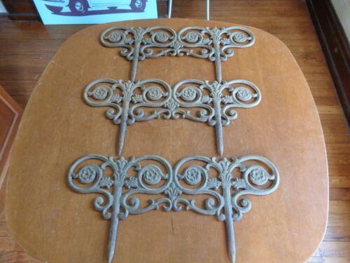 "3 Vintage Cast Iron Victorian Garden Border Pieces 17"" x 8"" Each"