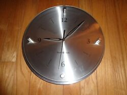 Steele Made Contemporary Stainless Steel and Glass Wall Clock 12