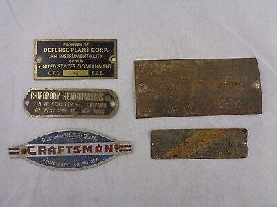 5 Vtg Industrial CRAFTSMAN, FLINTS, CHIROPODY, SHEPARD, Metal Emblem Sign