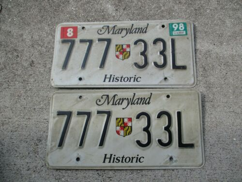Maryland 1998 Historic license plate pair  #  777  33 L