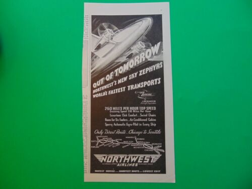 1937 SKY ZEPHYRS NORTHWEST AIRLINES  print ad