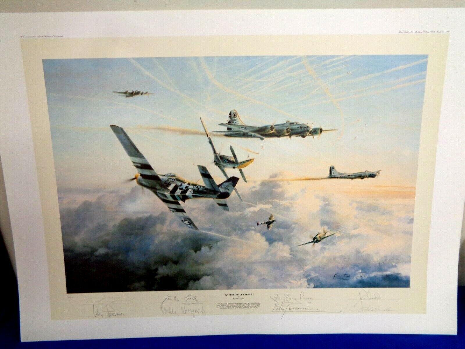 ROBERT TAYLOR ART PRINT - GATHERING OF EAGLES - 8 SIGNATURES W/ COA 681/1000 - $435.00