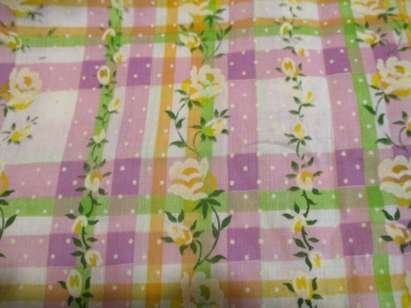 Vintage FLOCKED DOTTED SWISS FLORAL FABRIC Purple Lavender Plaid Fabric Rose BTY