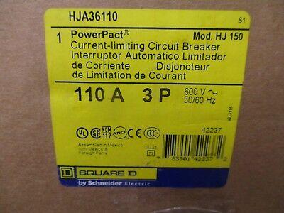 Square D Hja36110 110 Amp 3 Pole 600 Volt Circuit Breaker- New