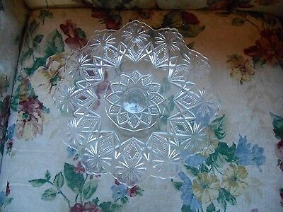 Vintage Pressed Glass Pedestal Cake Pastry Plate Rare Design Diamond & Flower