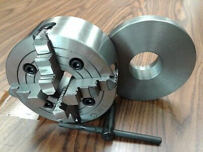 6 4-jaw Lathe Chuck W Independent Jaws W 2-14-8 Adapter Semi-finish 0604f0