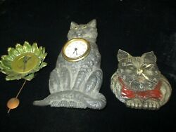 3 THREE VINTAGE ANIMATED CLOCKS - IRON CAT, LUX CAT, LUX FLOWER WALL CLOCK