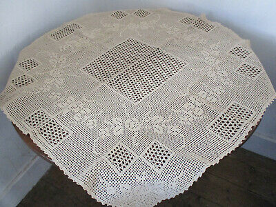 1920's ECRU HAND MADE CROCHET TABLECLOTH  33