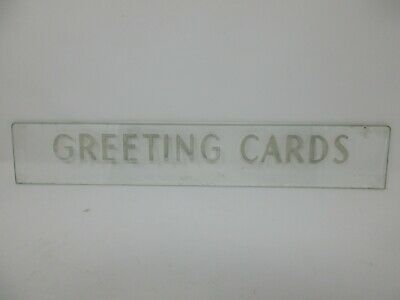 """VINTAGE REVERSE CUT & PAINTED GLASS GREETING CARD SIGN STORE DISPLAY 21"""""""