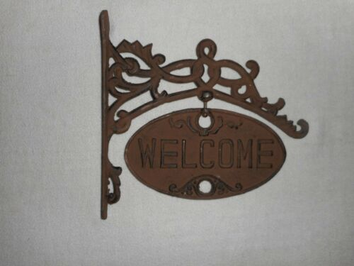 """Cast Iron Welcome Swinging Sign - Size 11"""" x 12"""" - Good Condition - See photos"""