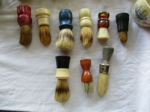 Lot of 9 vintage barber brushes Fuller, Whiting, Made-Rite, Ever-Ready ++