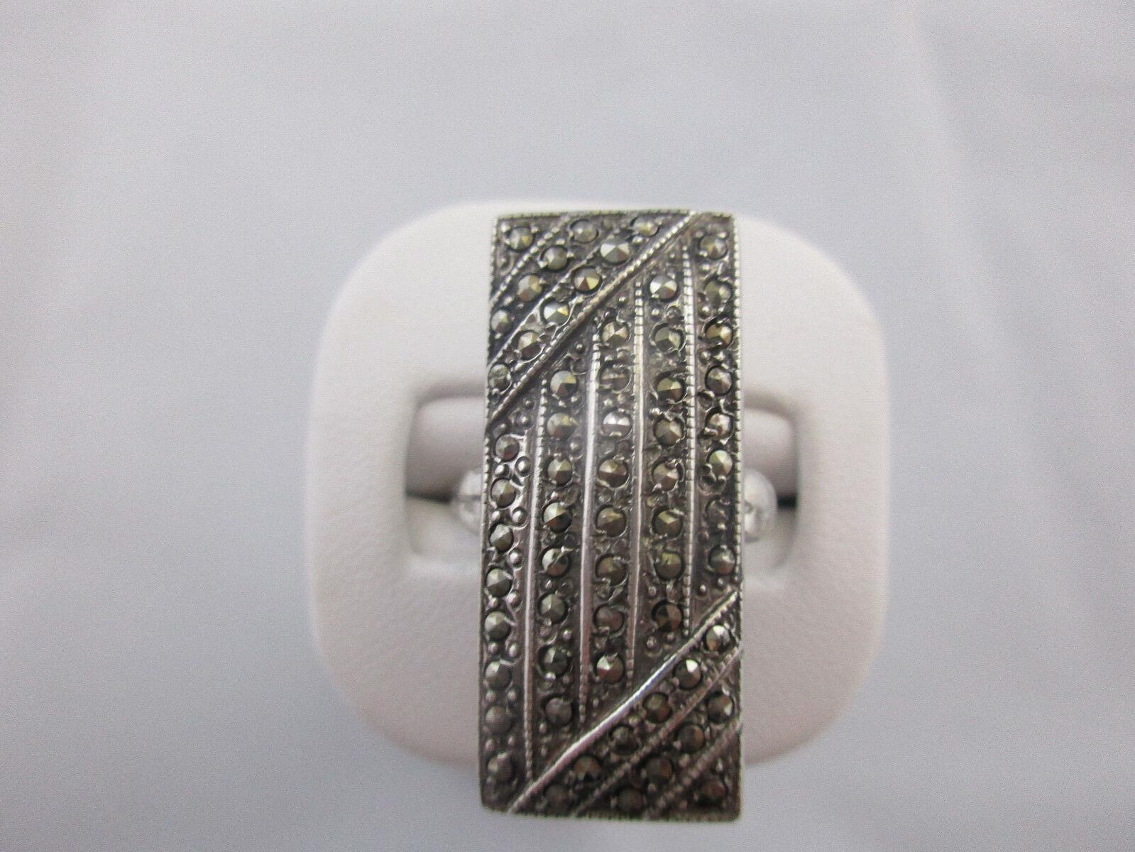 Vtg Estate Sterling Silver Marcasite Ring Art Deco Statement Signed Theda sz.9