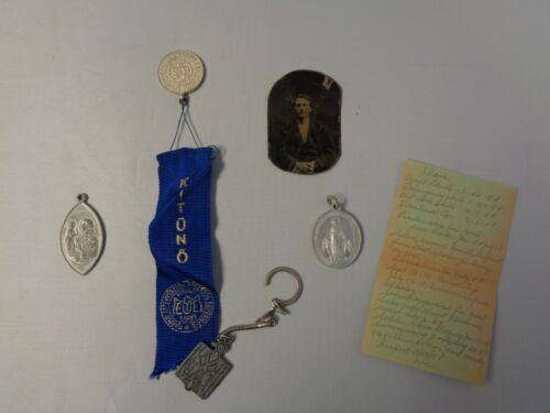 vintage miscellaneous collectible lot - tin type photo, religious symbol, award