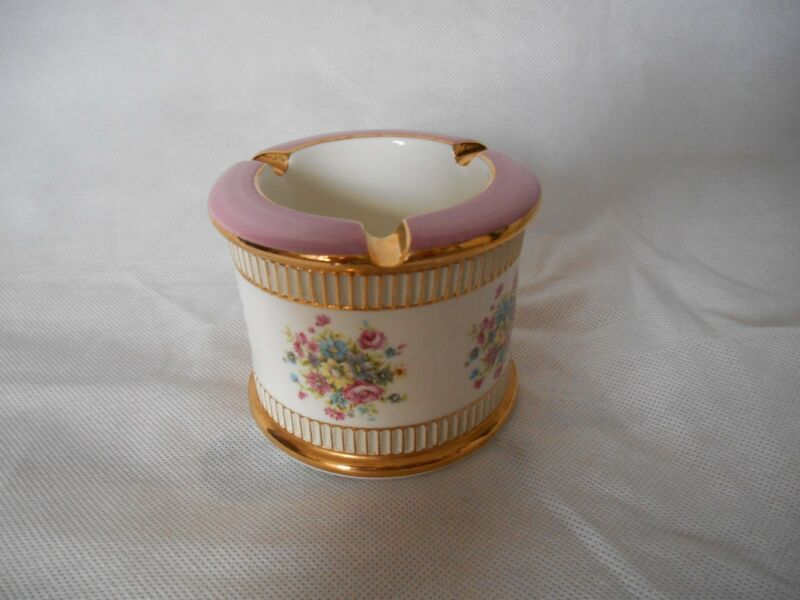 Vintage P K Flowers Gold and Pink Trim Round Ceramic Ashtray