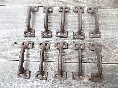 "10 CAST IRON HANDLES RUSTIC DRAWER PULLS 5 1//2/"" LONG W// SCREWS PULL HANDLE WOW!!"