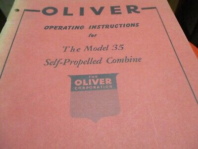 Oliver Model 35 Combine Operating Instructions Manual