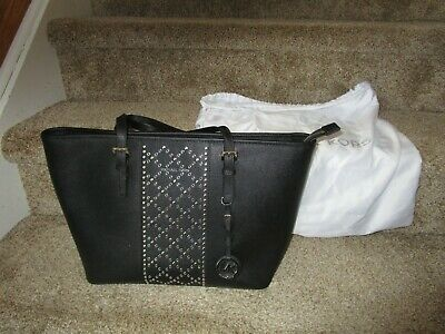 New MICHAEL KORS Black Saffiano Leather Silver Studded Purse Tote Handbag