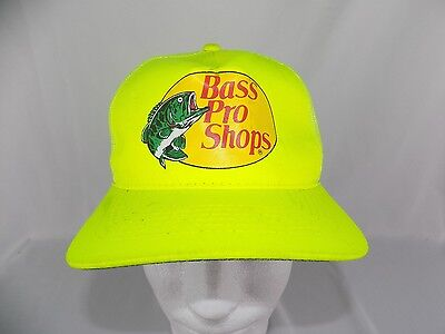 Bass Pro Shops Snapback Neon Yellow Fishing truckers cap Hat 748ae44a57d0