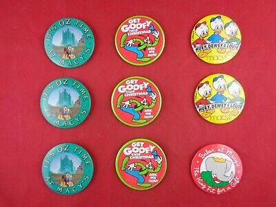 Vtg MACY'S Department STORE Christmas BUTTON PIN, Barbar, Wizard of Oz Lot of 9 Christmas Pin Buttons