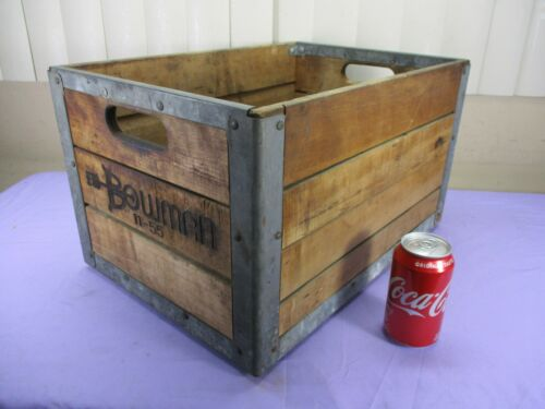 Vintage Bowman Wooden Steel Reinforced Dairy Milk Crate  November 1955 (a) MINTY