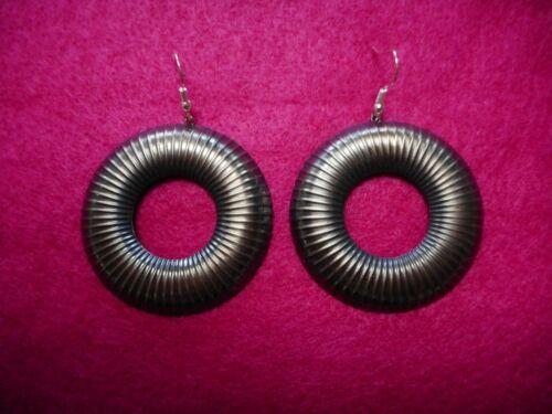 Vintage Ermani Bulatti Old Silver Findings Hoop Dangle PIERCED Earrings