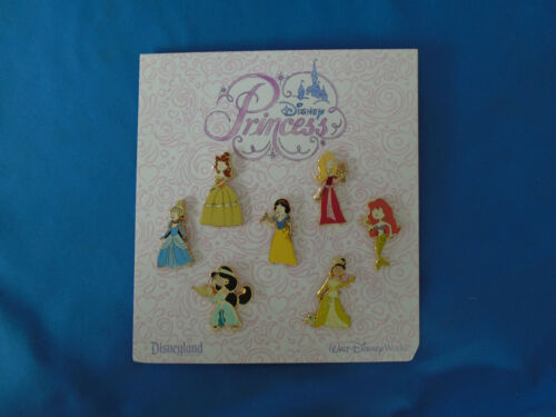 PRINCESS  Disney Pin SET of 7 2012 BELLE JASMINE ARIEL SNOW & AUTHENTIC New card
