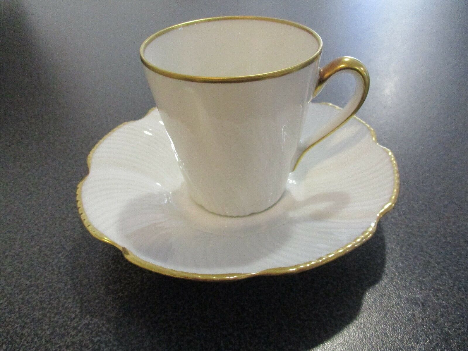 Chamart Limoges White Swirl Teacup And Saucer With Gold Trim