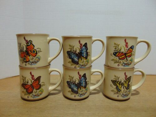 6 Viking Butterfly Coffee Mugs Hand Crafted Korea