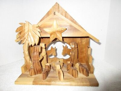 Collectible Hand Carved Bethlehem Christmas Nativity Scene Holiday Decorations