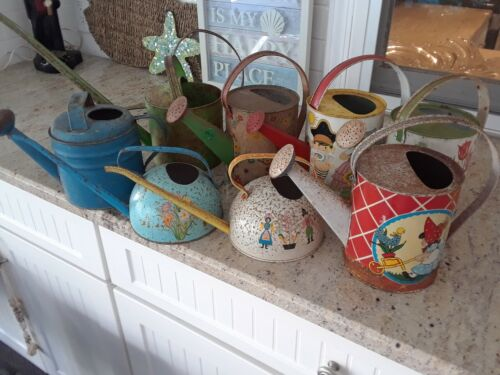 RARE VINTAGE TIN/METAL WATERING CANS   8 CANS  J. CHEIN  OHIO ART