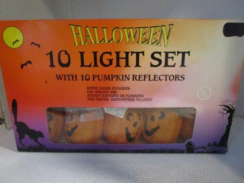 Vintage 10 Halloween Mini Pumpkin Jack O Lantern Electric String Lights Set NEW