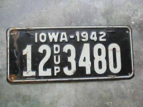 Iowa 1942 Duplicate license plate  #  12  3480