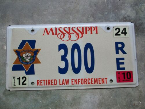 Mississippi 2010 Retired Law man license plate #  300