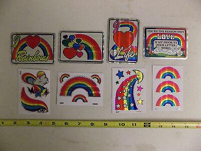 Vintage 80's Prismatic Prism Stickers Lot of 8 Rare Set Rainbows Love Hearts