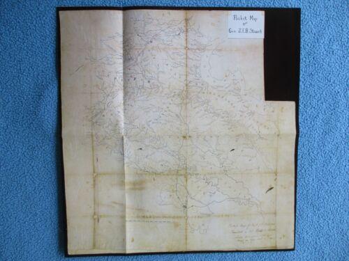 Civil War Map -Pocket Map of Confederate Cavalry General J.E.B. Stuart -FRAME IT