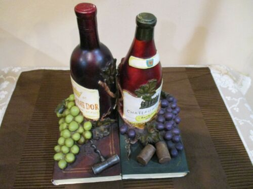 Ceramic Wine Bottle, Book & Grape Book Ends  (2pcs)