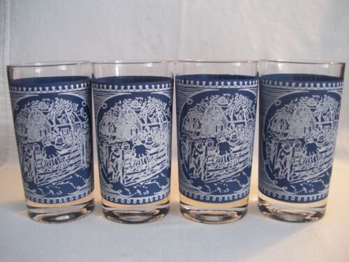 4 Vintage Royal China Currier and Ives Blue/White Old Farm Gate 8 oz Glasses NOS