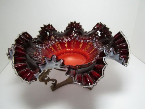 """Vintage Victorian Brides Basket Stand 11"""" Ruby Red Glass Ruffled Bowl w/Enamel"""