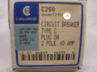 3 -new Challenger C260 2 Pole 60 Amp Circuit Breakers